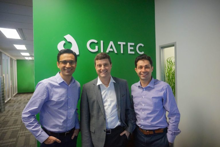 New CEO Paul Loucks, with Giatec co-founders Aali and Pouria